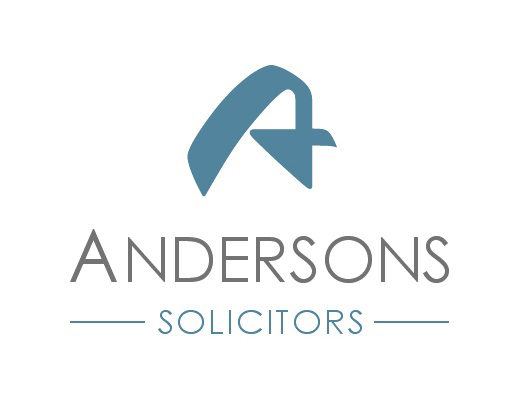 A brand Identity for Andersons Solicitors LLP, composed of a distinctive swash letter A in teal, centred above the company name in grey and Solicitors in teal.