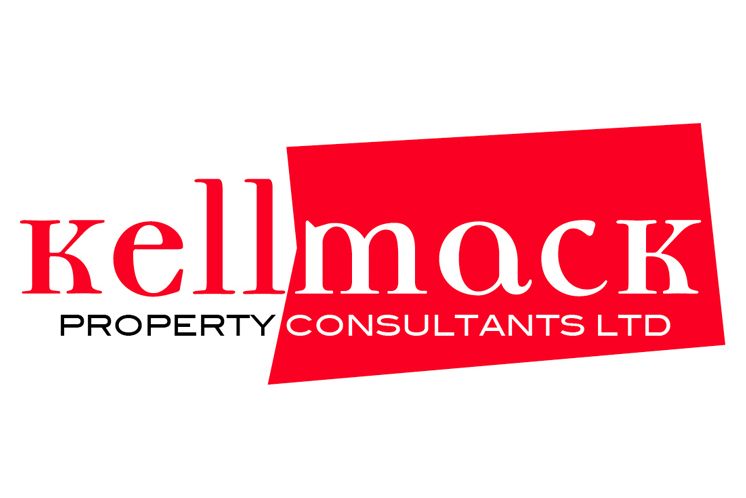 A brand identity for Kellmack Property Consultants, composed of the word Kellmack, the Mack part appearing white out of a five-sided polygon with irregular sides. Property Consultants appears below. Colours are bright red, white and black.