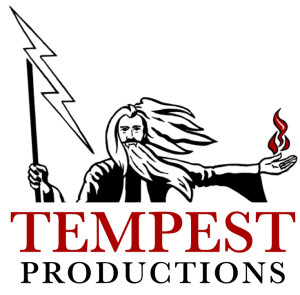 The red-and-black brand identity for Tempest Productions shows an illustration of a wizard character inspired by Prospero in Shakespeare's The Tempest. Lightning bursts from the staff in his right hand and in his left hand, he controls fire.