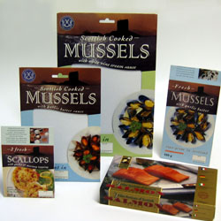 Seafood packaging designs, showing tray wrappers and cartons for Scottish Mussels, Cockles and Scallops, and a carton for Scottish Salmon.