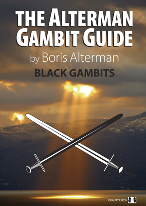 This chess bookcover shows a shaft of sunlight breaking through dark clouds above a loch. The cover is largely in brown and gold shades. The book title is The Alterman Gambit Guide – Black Gambits 1. Superimposed in front of the photo are a pair of crossed swords, one white, one black. In the case of black gambits, the black sword is in front and dominates.