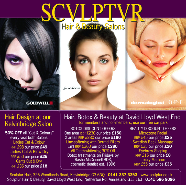 Example of advertising – this ad for Sculptur Hair & Beauty appears in the Glasgow Premium Benefits directory and shows three beautiful portraits of women on a bold purple background: a moody brunette photo for Hair, a gorgeous model with her hair swept back for Botox and a woman with her hair towel-wrapped enjoying Beauty treatment.