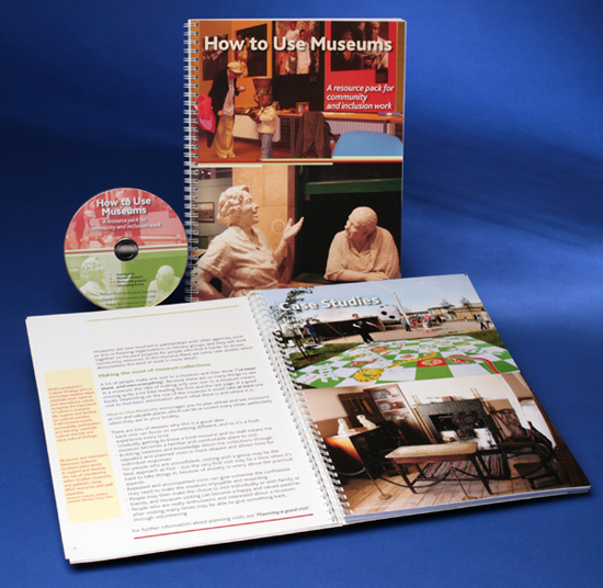 "Photo shows copies of the ""How to Use Museums"" book, both the front cover and an open spread are visible, plus the audio CD that came with the book. I supplied the book design and print for 1000 copies of this book."