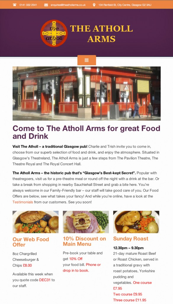 Picture shows The Atholl Arms Website's Home Page as if viewed on a tablet flat-on. The masthead has an orange bar, then a dark purple bar with the pub's logo. Then a photo of a corner pub decorated in red, then small photos of meat dishes, like Sunday roast.