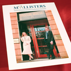 Pic shows the McAllisters Accountants brochure designed by Adamson Design. The cover picture shows the directors, Kenny and Fiona, standing at the front door of their Glasgow premises.