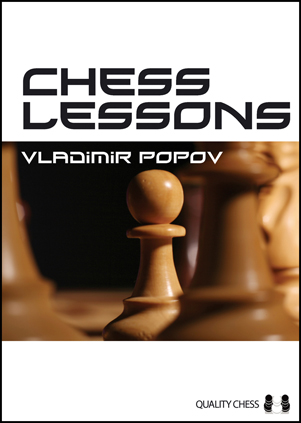 Beneath the title Chess Lessons, a photo in fawn-and-brown shades runs horizontally across the stark white cover. In this extreme close-up chessboard photo, the other pieces on the chessboard are blurred, but a single pawn is in crisp focus and dominates the cover.