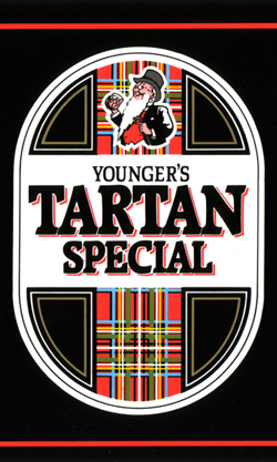 The pic is a closeup of the design of the classic Younger's Tartan Special can, a black beercan with a tall white lozenge shape. In the white lozenge, there are tall panels of red tartan, one of which features the white-bearded figure of Mr Younger on top of it.