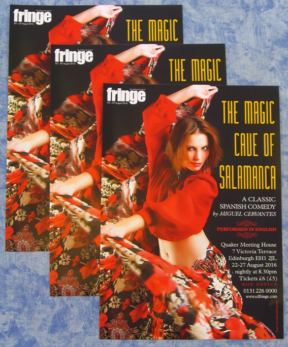 Graphic Design – a poster for a Spanish comedy play by Miguel Cervantes. The poster shows a beautiful dancer in a bright red top twirling her skirt.