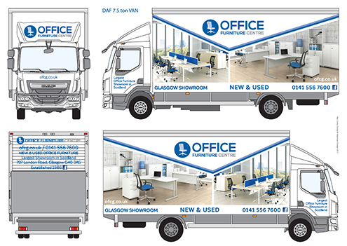"Pic shows a white DAF 7.5 ton lorry branded with the new Office Furniture Centre logo. The lorry-sides show full-colour photos of office furniture in office settings. Logo is a mid-blue circle with an image of a pale blue office chair with text ""Office Furniture Centre"" to the right."