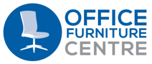 "This new Office Furniture Centre logo is the 3-liner version where ""Office"" appears large in the line above ""Furniture"", both lines in blue, with ""Centre"" shown in mid-grey below. Logo is a mid-blue circle with an image of a pale blue office chair and bold text reading ""Office Furniture Centre"" to the right."