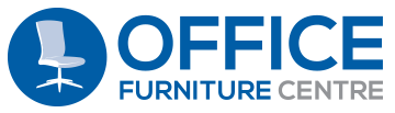 "This new Office Furniture Centre logo is the 2-liner version where ""Office"" appears large and blue in the line above ""Furniture Centre"". Logo is a mid-blue circle with an image of a pale blue office chair and bold text reading ""Office Furniture Centre"" to the right."