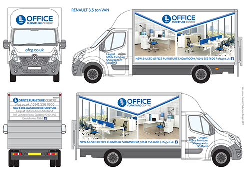 "Pic shows a white Renault 3.5 ton van branded with the new Office Furniture Centre logo. The van-sides show full-colour photos of office furniture in office settings. Logo is a mid-blue circle with an image of a pale blue office chair with text ""Office Furniture Centre"" to the right."
