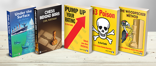 Five bookcover designs are shown propped up on a shelf. From left to right, a cover that references the Titanic collision with an iceberg, then a chess pawn in the shadow of jail bars, then a yellow cover with a rising red diagonal arrow, a yellow cover with a skull and crossbones, and lastly, a yellow cover with a woodpecker carving a chess king from a block of wood. They are all chess bookcovers. (Book cover, book-cover.)