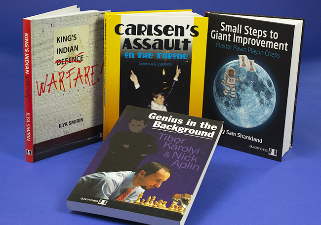 "Four bookcover designs – from left to right, a poster defaced on a white brick wall, then a book with a photo of World Chess Champion Magnus Carlsen jumping into a swimming pool on winning the 2013 tournament, then a cartoon pawn in a spacesuit walking on the moon; lastly, in front, ""Genius in the Background"", shows a chess player concentrating on his next move whilst a shadowy figure – his coach – watches from the background. These are all chess bookcovers. (Book cover, book-cover.)"