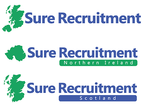 Sure Recruitment Group suite of logos, featuring maps of Scotland and/or Northern Ireland. Name in dark blue, maps in jade green.