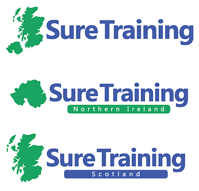 Sure Training suite of logos, featuring maps of Scotland and/or Northern Ireland. Name in dark blue, maps in jade green.