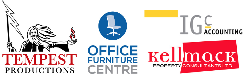 Four Band Identities created by Adamson Design: Tempest Productions, Office Furniture Centre, IGC Accounting and Kellmack Property.