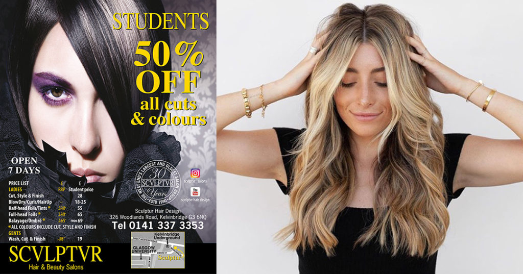 Left of pic showing brunette plus map for Sculptur Hair Design, Glasgow; right side shows student-age woman with blonde-brown balayage long hair.